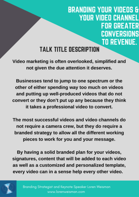 branding your videos and your video channel, overview, keynote speaker