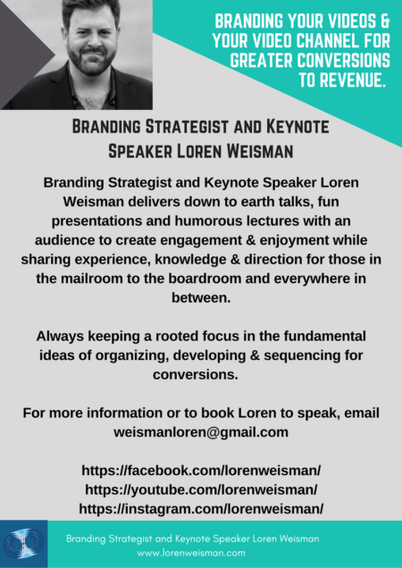 branding your videos, loren weisman, keynote speaker, strategist