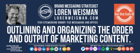A footer graphic that reads Outlining and Organizing the Output of Marketing Content as well as an image of Loren Weisman, the Wait What Really Ok logo, an image of Loren Weisman as some social media icons.
