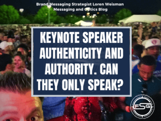text over image of loren and audience