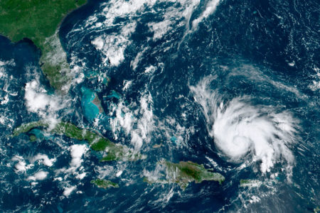 A satellite image of Hurricane Dorian from the 29th.