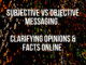 A dark copper background with a blog title about subjective vs objective messaging on front of it.