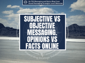 Text over mountains and sand that reads Subjective vs objective messaging.