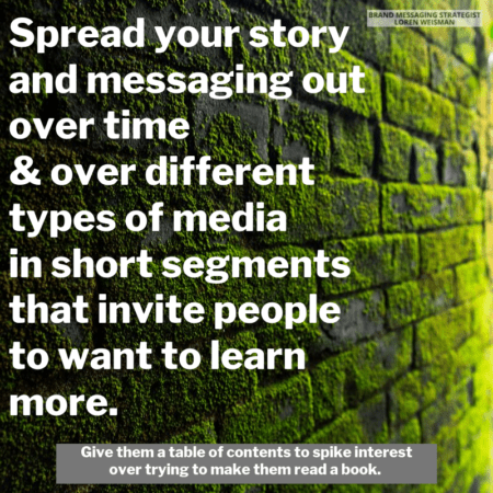 a green covered brick wall with a loren weisman quote on top of t about telling your story.