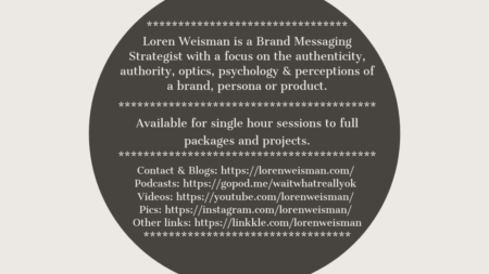 Tan back ground with circle in the middle with details about brand messaging strategist loren weisman.