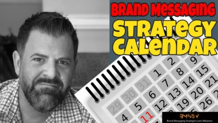 loren weisman in photo with a brand messaging strategy calendar