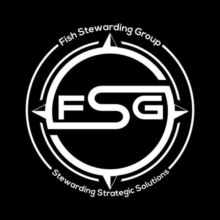 a white on black logo of the Fish Stewarding Group
