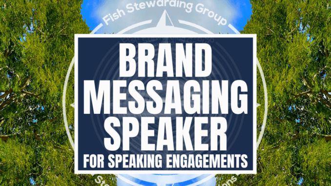 "A featured image graphic with two trees on each side and sky in the middle with the title that readds ""brand messaging speaker."""