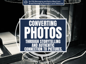 A featured graphic with a black and white background, with a lamp, books and a wine glass and a white centered title that reads Converting photos through storytelling and authentic connection to pictures. Above is the FSG Logo as well as a center text that reads Brand Messaging Strategist Loren Weisman.