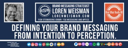 A footer graphic with a blue background and a white centered title that reads Defining your brand messaging from intention to perception. The Wait What Really OK Logo as well as a center text that reads Brand Messaging Strategist Loren Weisman with and FSG logo and other text. Beneath the title image are some social media and podcast icons.