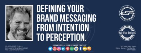 "A header graphic with a blue background and a white centered title that reads Defining your brand messaging from intention to perception. To the left side is an image of Loren Weisman, to the right of the text is the Wait What Really OK Logo as well as the Fish Stewarding Group Logo. On the bottom of the image reads the text ""Loren Weisman: A brand messaging strategist with ten social media icons below it."