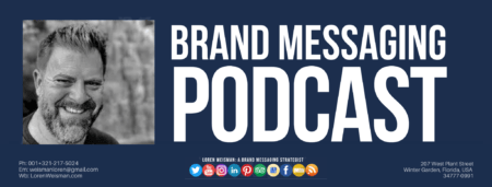A footer graphic with a blue background and a white centered title that reads Brand Messaging Podcast. Above are images of Loren Weisman, The Wait What Really OK Logo as well as a center text that reads Brand Messaging Strategist Loren Weisman with and FSG logo and other text. Beneath the title image are some social media and podcast icons.