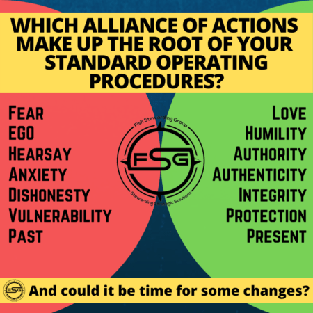 A blue background with a half circle in red and one in green with text inside and text that reads on top on a yellow background, Which alliance of actions make up the root of your standard operating procedures?