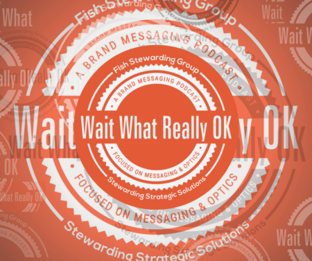 The Wait What Really OK logo on an orange background with a series of smaller Wait What Really OK logos in white, black and gray as watermarks spread out across the image.