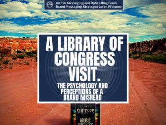 A featured graphic with a long sandy road with some tan hills in the background in New Mexico. Then, in the middle, a blue rectangle in the center with a white border around it with white text that reads A Library of Congress Visit. Above is the FSG Logo as well as a center text that reads Brand Messaging Strategist Loren Weisman. The blue rectangle is surrounded by a white Fish Stewarding Group logo watermark.