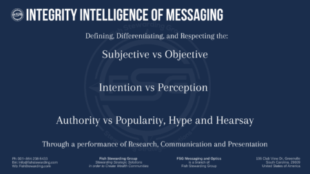 A blue graphic titled Integrity intelligence of messaging with a lot of text and the focus point being Subjective vs objective. The background has an FSG logo watermark.