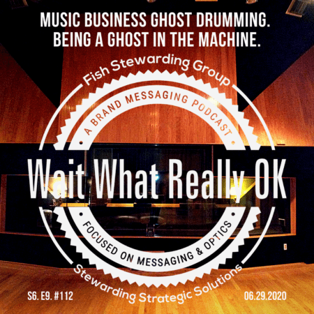 A podcast cover with the Wait What Really OK logo in the front with the text above it that reads Music Business Ghost Drumming. Being a Ghost in the Machine. In the background, it is a recording studio.