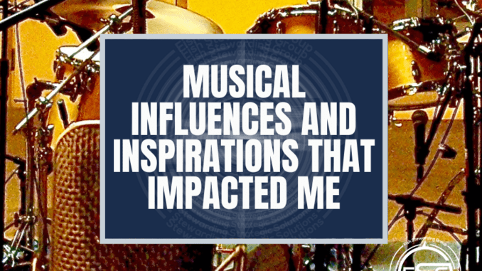 text over image of a drumset with microphones on it.