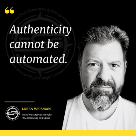 A dark black and white image on the dont vote for me blog of Loren Weisman on the right side with a quote on the left side that reads: Authenticity cannot be automated.