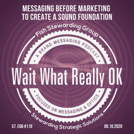 A wait what really ok logo on a purple background with the title that reads Messaging before marketing to create a sound foundation.