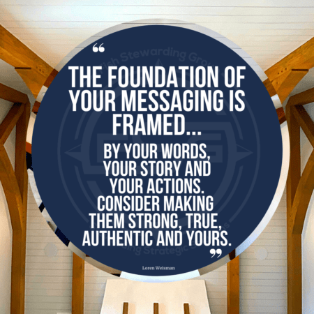 "A quote graphic of a ceiling with wood beams. In upper center is a blue circle with and FSG logo watermark and a quote in white text that is credited to Loren Weisman in a small font on the bottom and in the center reads, ""The foundation of your messaging is framed by your words, your story and your actions. Consider making them strong, true, authentic and yours."""