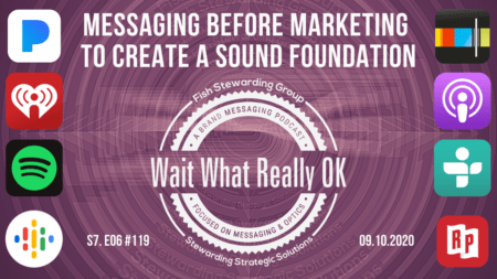 Messaging comes before marketing graphic with a purple background, the podcast social icons and the episode cover in the center.