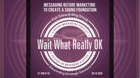 Messaging comes before marketing purple graphic for the Wait What Really OK Podcast Episode