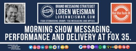 A footer graphic with a blue background and a white centered title that reads Morning show messaging, performance and delivery at Fox 35. The Wait What Really OK Logo as well as a center text that reads Brand Messaging Strategist Loren Weisman with and FSG logo and other text. Beneath the title image are some social media and podcast icons.