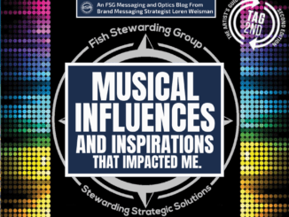 A featured graphic with the outline of the artists guide to success book cover in the background and a blue rectangle in the center with a white border around it with white text that reads Musical influences and inspirations that impacted me. Above is the FSG Logo as well as a center text that reads Brand Messaging Strategist Loren Weisman. The blue rectangle is surrounded by a white Fish Stewarding Group logo watermark.