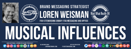 A graphic with an image of Loren Weisman, the FSG and Wait What Really OK logos as well as the title of musical influences and inspirations.