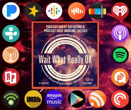 An image of the red marble floor with the cover of the podcast and a series of social media icons.