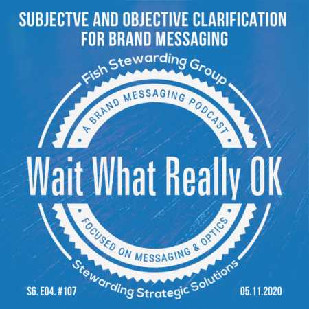 A Podcast Episode graphic with a light blue background, the Wait What Really OK logo in the center and the title above that reads subjective and objective clarification for brand messaging.