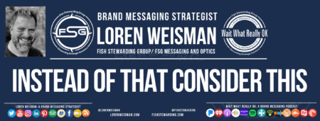 A blue header banner with an image of Loren Weisman as well as text and links pointing to the website and other social media pages.