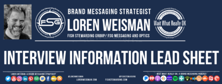 A header graphic that has main text that reads interview information lead sheet with an image of Loren Weisman, the FSG logo as well as social media icons and web links.