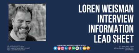 A footer graphic that has main text that reads interview information lead sheet with an image of Loren Weisman, the FSG logo as well as social media icons and web links.