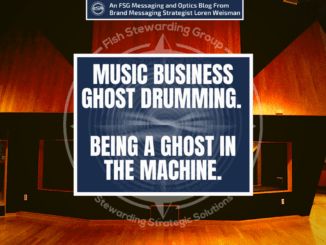 A featured image with a background of a tan wood walled recording studio with a title in the center that reads music business ghost drumming. Being a ghost in the machine.