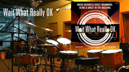 An image with a drumset in a large room with the text Wait What Really OK and the cover graphic of the Wait What Really OK in the right upper corner.