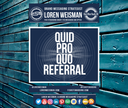 A blue background of bricks with the title in the center that reads quid pro quo referral.