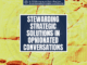 A feature graphic with a yellow textured background and the title in the middle that reads Stewarding Strategic Solutions in opinionated conversations over a blue rectangle.