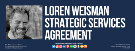 A footer graphic with an image of Loren Weisman and text that reads strategic services agreement as well as social media icons.