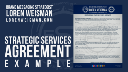 A graphic that reads strategic services agreement example and has an image of a piece of paper with that agreement on it as well as the text, Brand Messaging Strategist Loren Weisman
