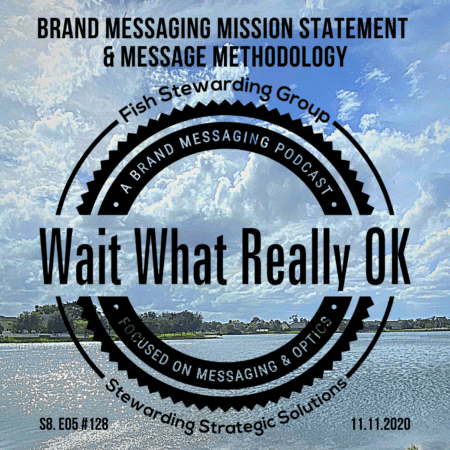 An image of a lake and sky with the wait what really ok logo and the text above it reading brand messaging missions statement.