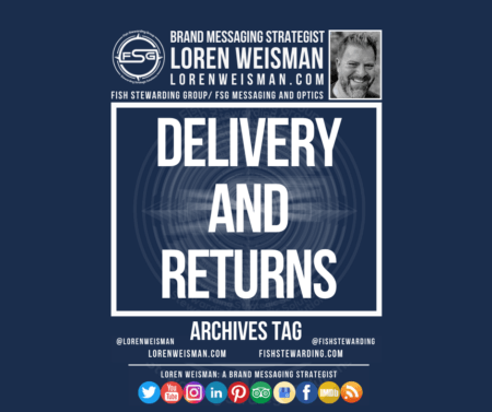 An archives tag graphic with a blue background with the title that reads delivery and returns as well as an image of Loren Weisman, the FSG logo and some social media icons.