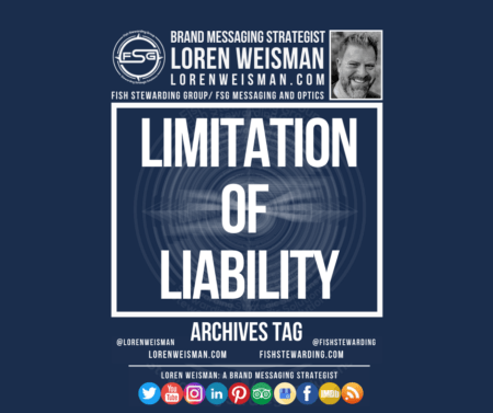 An Archives tag graphic with a title that reads limitation of liability as well as an image of Loren Weisman, the FSG logo in white and a series of social media icons.
