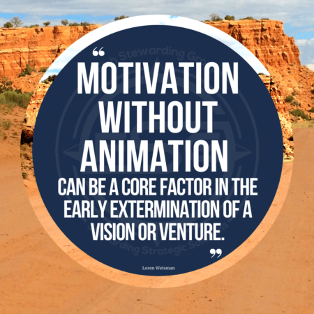 A desert image with a little sky in the top and a blue circle with the text quote that reads Motivation without animation can be a core factor in the early extermination of a vision or venture.