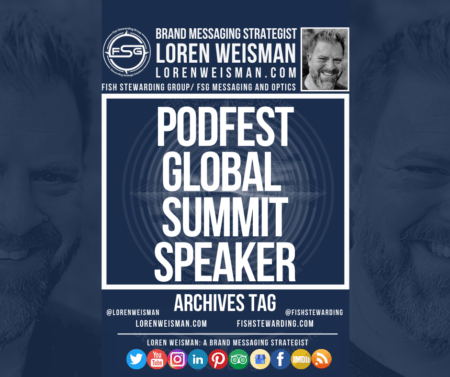 """An archives tag graphic with the title in the center that reads """"podfest global summit speaker"""" and is surrounded by an image of Loren Weisman, an FSG logo and social media icons."""
