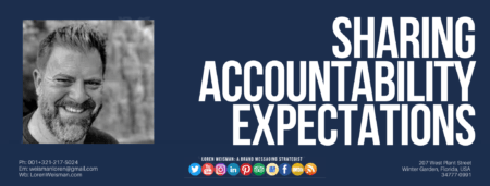a header with the title text that reads sharing accountability expectations as well as an image of Loren Weisman and social media icons