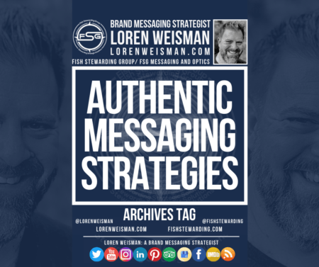 """An archives tag graphic with the center title that reads """"Authentic messaging strategies"""" and is surrounded by images of Loren Weisman, the FSG logo and some social media icons."""