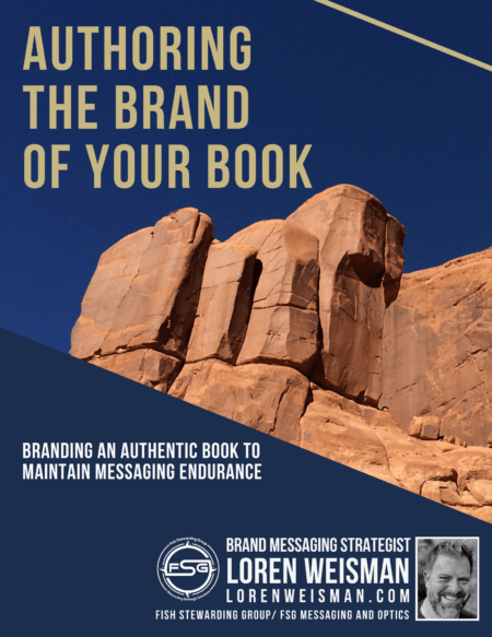 An image of a rock formation and blue sky with the the title authoring the brand of your book