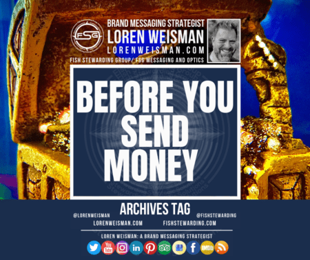 an archives tag with the title before you send money and a background of a treasure box in gold.